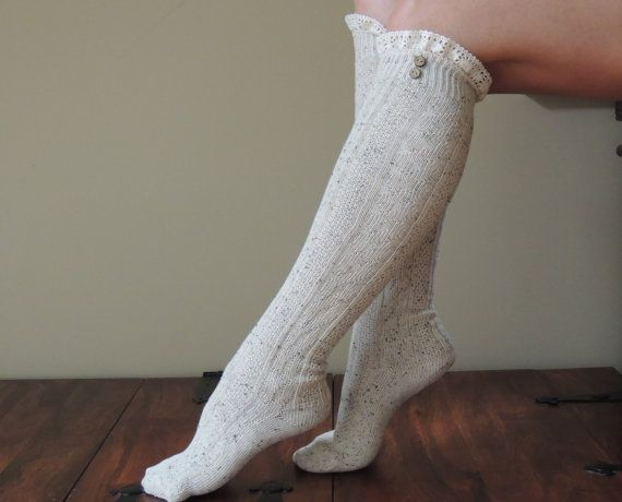 Boot socks WITH LACE and button options!, -extra long socks stretch up or scrunch down - wear with boots...or by themselves!  These cozy