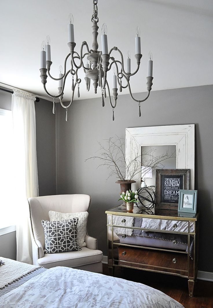 love this gray bedroom with white accessories