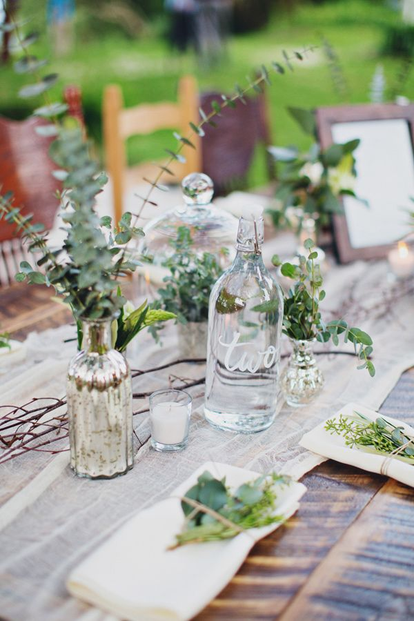 table settings - number on glass bottle