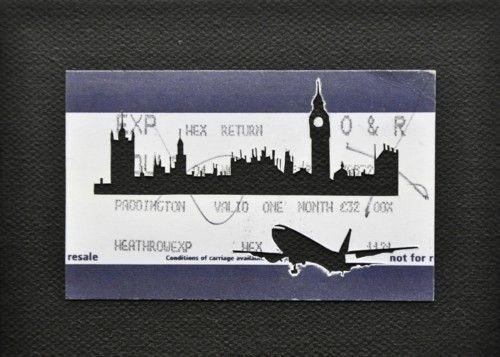 "Please Mind The Gap: Paddington to Heathrow    Cut Out Train tickets on canvas  2011   5""x 4""    £90 including frame"