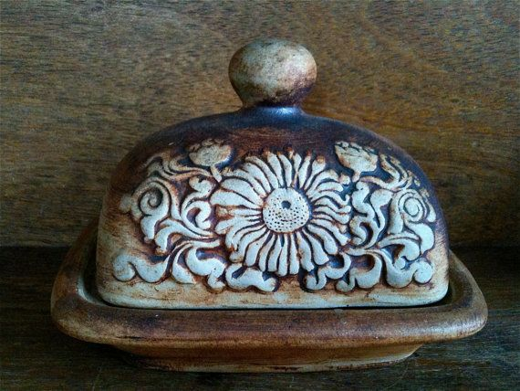 Rustic Butter Dish / Vintage Brown Pottery / by EnglishShop, $79.00