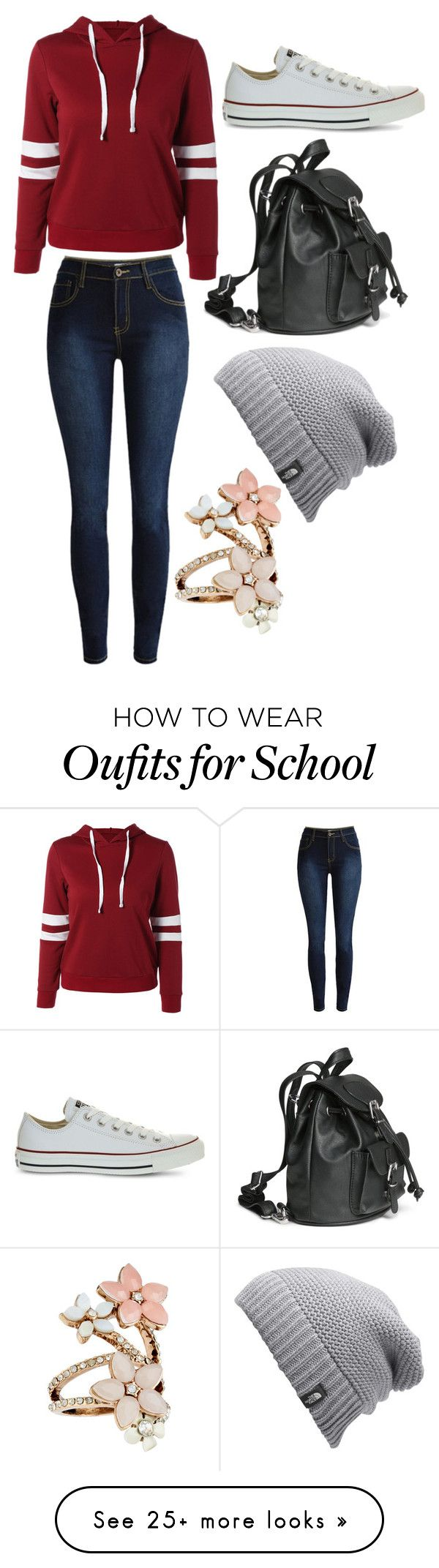 """Casual School Day"" by twig-127 on Polyvore featuring Converse, The North Face and Accessorize"