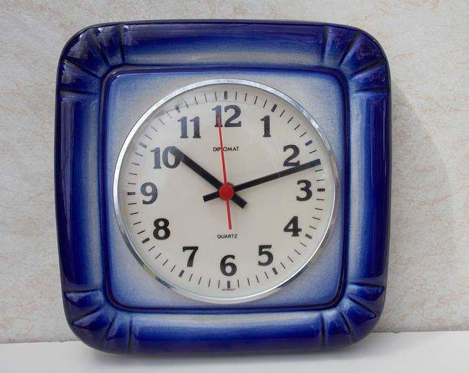 Modern Space Ceramic Wall Cock,Diplomat, blue clock 70s Mid Century, Art Kitchen, kitchen decor, retro clock, Germany clock, retro, vintage