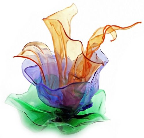 'PET flowers' series  art objectmade from plastic shampoo and water bottles  created by Ifigenia Sofia