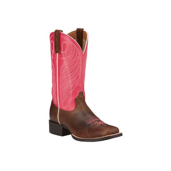 Women's Ariat Round Up Wide Square Toe Boot (445 BRL) ❤ liked on Polyvore featuring shoes, boots, casual, cowboy boots, pink, knee high cowboy boots, knee high boots, knee high leather boots, pink cowgirl boots and tall cowgirl boots