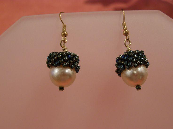 Glass Earrings – Acorn beaded earrings – a unique product by DarkEyedJewels on DaWanda
