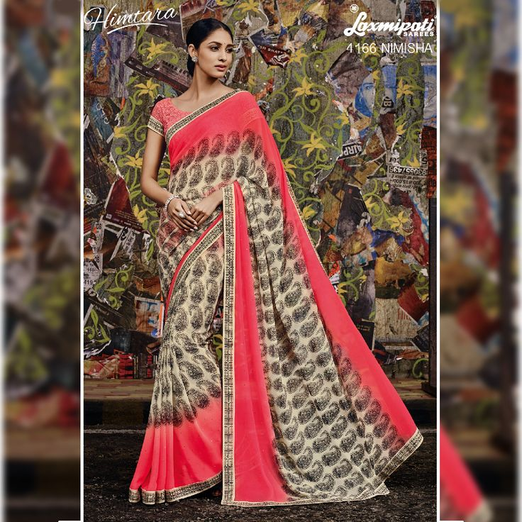 If you love ethnic wear, you'll be charmed with this collection of Peach & offwhite coloured Georgette Saree with Printed Lace along with Peach coloured Chikan embroidry on Georgette Blouse now available on LaxmipatiSaree.  #Bollywood #Style #Wedding #Fashion #Sarees #Ethnic #HIMTARA0616