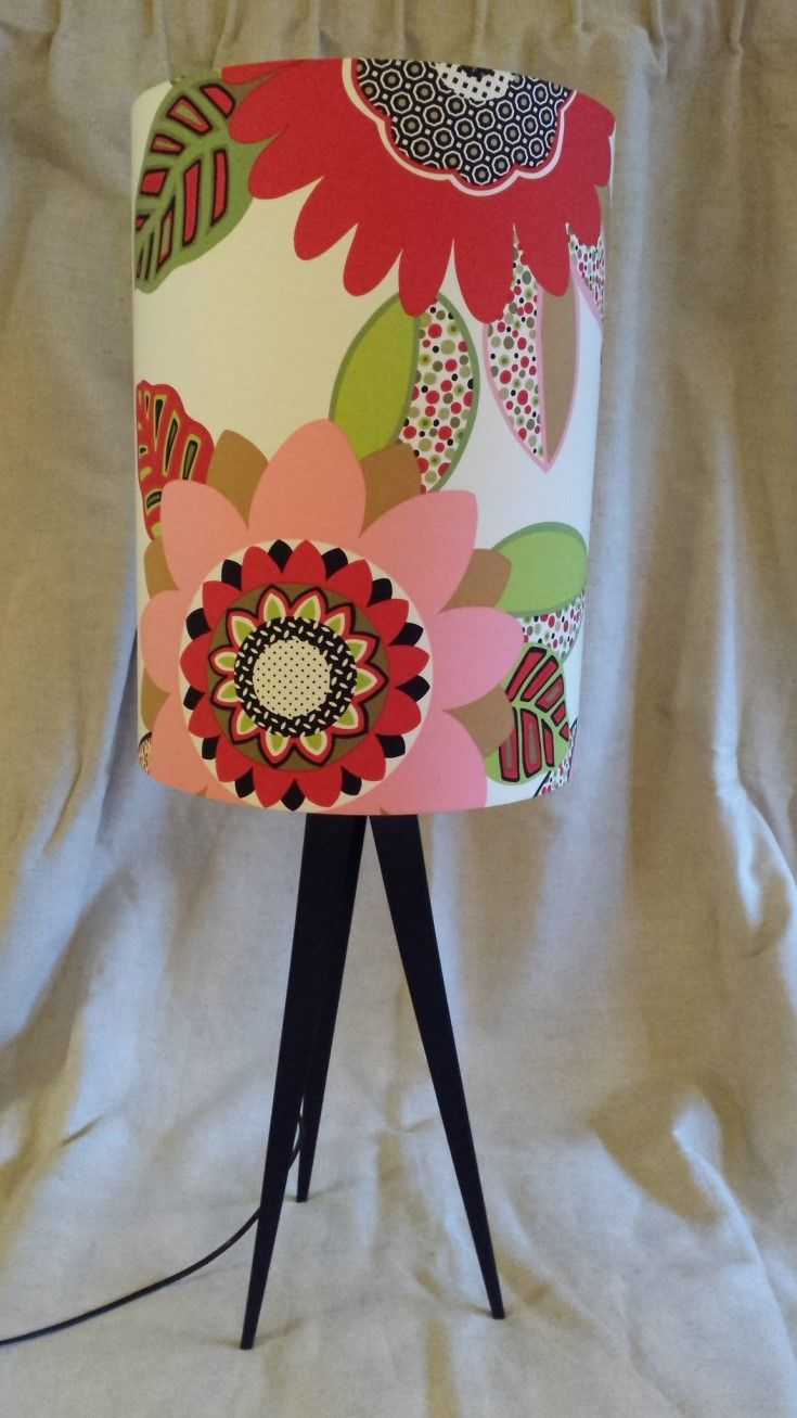 Brighten Up. I love this crazy floral shade on the metal tripod lamp base. Shade measures 33cms wide x 46cms tall, base measures 52cms.