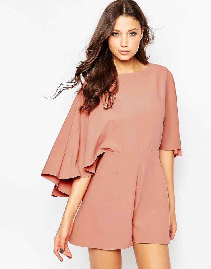 Image 4 ofASOS TALL Playsuit with Cape Sleeve