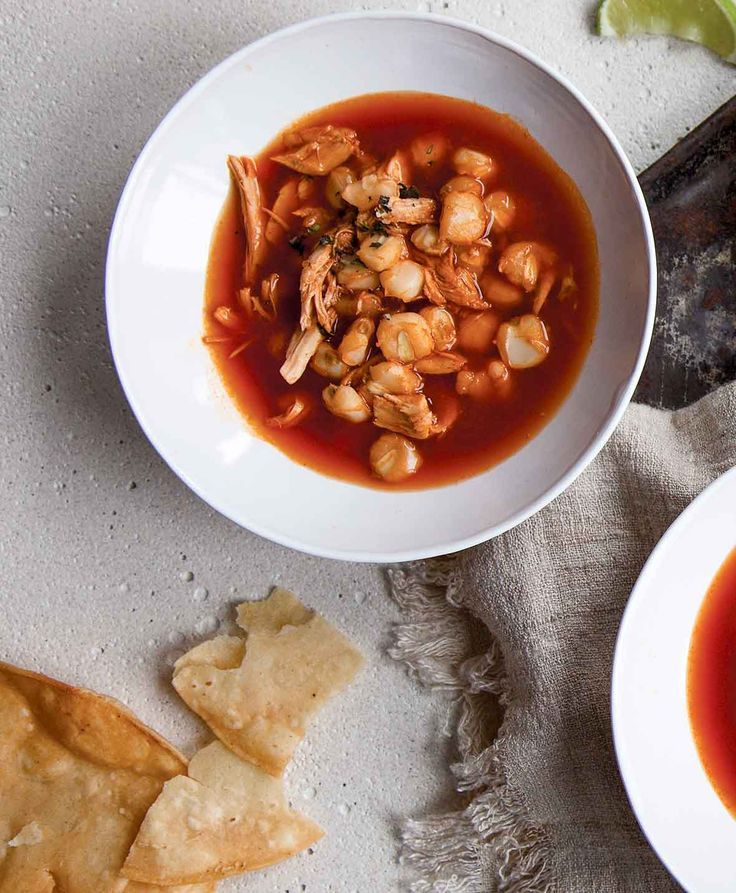 "Red Pozole Recipe | Pozole means ""make a big batch of this on the weekend and reheat during the week after soccer practice."" (Not really. It actually means a big crowd-pleasing batch of awesomeness.)"
