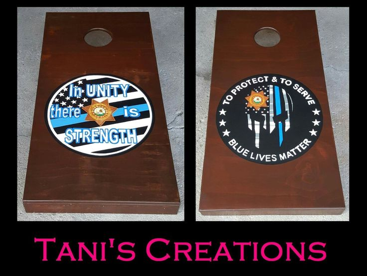 "These will be raffled off at a fundraiser for Deputy Michael Melcher and his family.  July 20,2017 5pm-1am at The Brick Lounge 115 E South Street, Plano.   Custom Handmade Cornhole Boards: High quality, heavy duty, 24""x48"" regulation size, 5/8"" Plywood tops with strong premium grade 2""x4"" frames and legs, rounded edges, all designs are hand painted, and clear coated for a smooth finish. You Pick Original or Foldable, Color of stain or paint, and the design or logo. TanisCreations@yahoo.com"