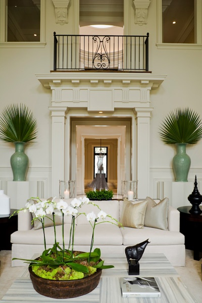 Love the architectural details, and the white and green: Vase, Palms Leaves, Living Rooms, Fans Palms, Interiors Design, Beautiful Rooms, House, South Shore Decor, Decor Blog