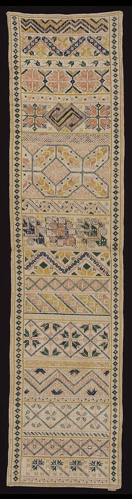 Spanish Sampler ~ 19th century ~ linen plain weaved embroidered with silk ~ Stitches: counted-satin, detached-chain, double-running, eyelet, long-armed cross, running ~ Museum of Fine Arts, Boston