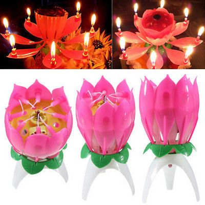 Amazing Flower Lotus Lights Music Musical Birthday Candle Cake Topper Decor TK