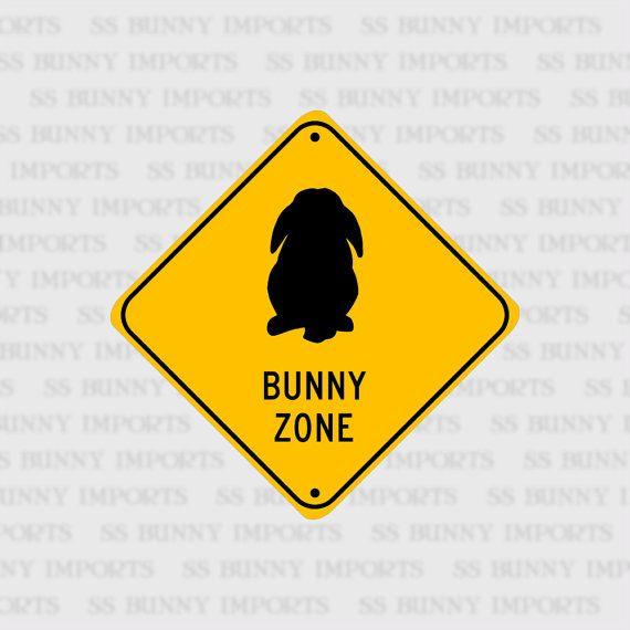 Lop Bunny Zone pet rabbit sign aluminum 6 glossy