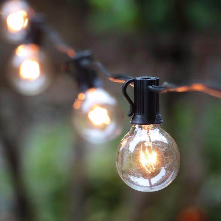 G40 String Lights dengan 25 Lampu Dunia Terdaftar G40 Jelas untuk Indoor/Outdoor Vintage Halaman Belakang dekorasi pernikahan String Lampu