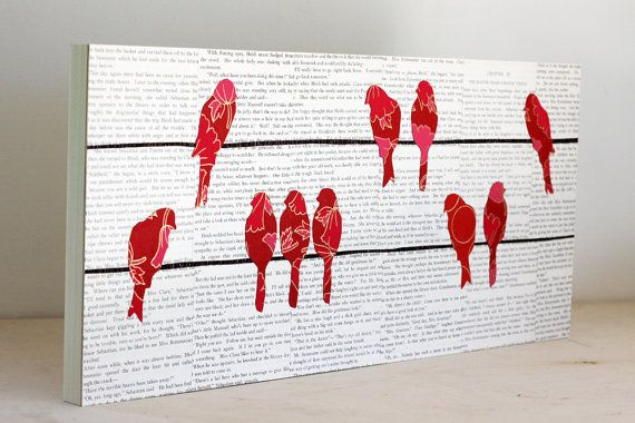 Pink Birds on Telephone WIres Over Vintage Text Mounted on a 10x22 Birch Panel, Bird on a WIre Art, Bird Art