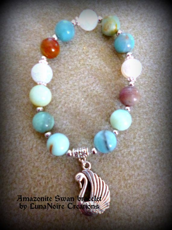Amazonite and White Agate Swan crystal by LunaNoireCreations