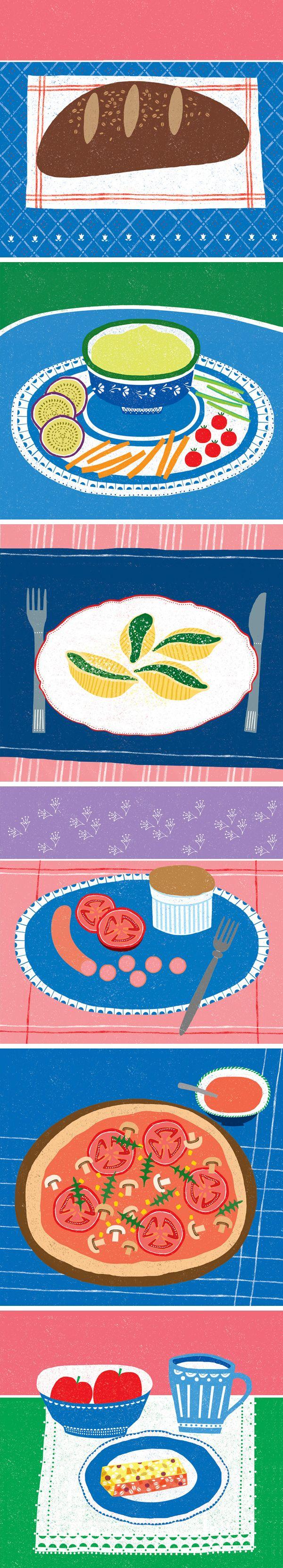 Food illustrations for the cookbook 'Mesék a konyhábol' by Viktoria Cikos