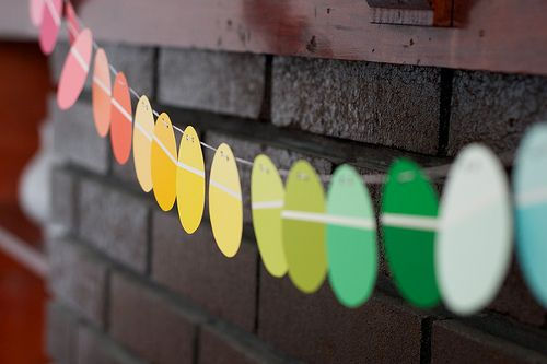 Adorable and simple easter decor! Just use paint chips and your Cricut to cut out the perfect egg shape!