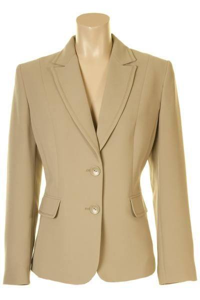 "Busy Clothing Beige Suit Jacket Combine with Busy beige trousers or skirts to make a stunning suit Stitching detail on collar, lapel, flaps and cuffs 2 Buttons front fastening Mock button on the cuffs Fully lined with viscose lining Main: 100% Polyester Lining: 100% Viscose Length increases with each size from 24"" / 61cm for size 10 to 25 1/2"" / 65cm for size 26"
