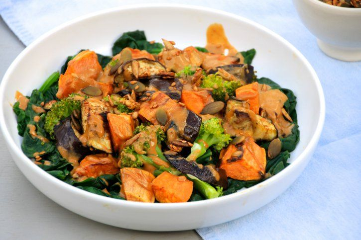 Sweet potato, aubergine, broccoli and wilted spinach salad with a tahini-tamari dressing