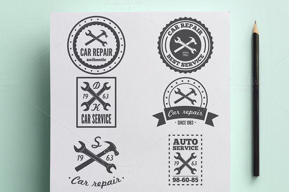 Set of vintage logo for car service by Lustra Frisk on Creative Market