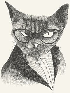 Heer Cat  glasses dark mystery bad evil aristocratic by Leo Bellei