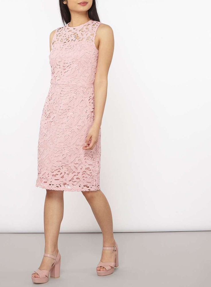 Womens Petite Pink Lace Pencil Dress- Pink