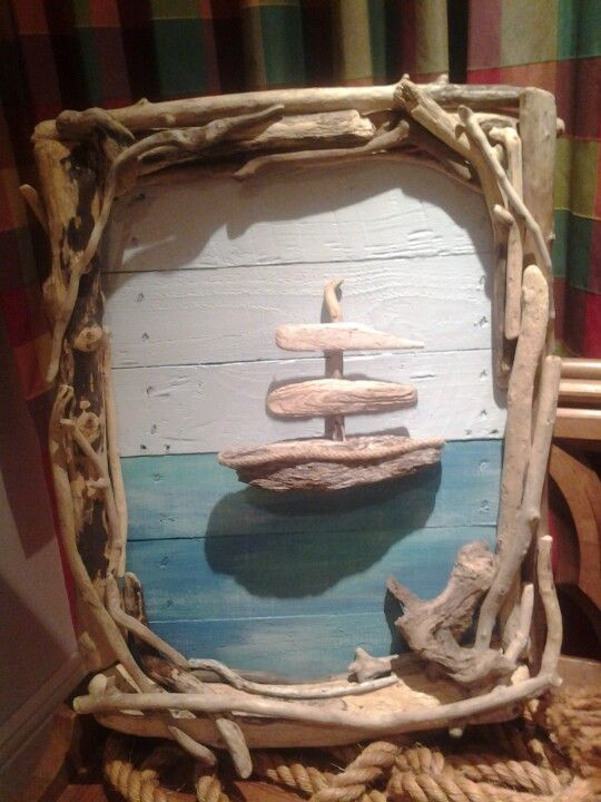 "Driftwood boat driftwood ship ""sail away with me"" with driftwood frame.   Www.thedriftwoodartisan.co.uk"