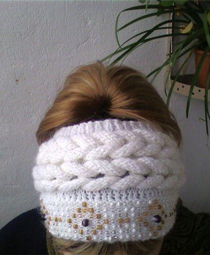 Вязаная повязка на голову. Вязание спицами