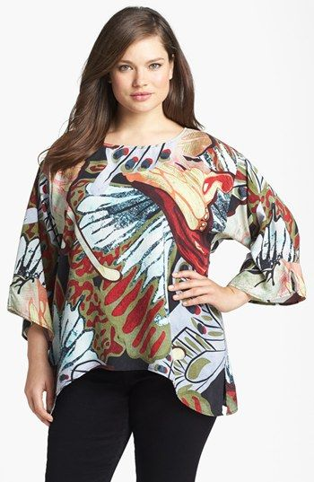 asymetrical hems are good for women with big hips - Citron Print Embossed Silk Tunic (Plus Size) available at #Nordstrom