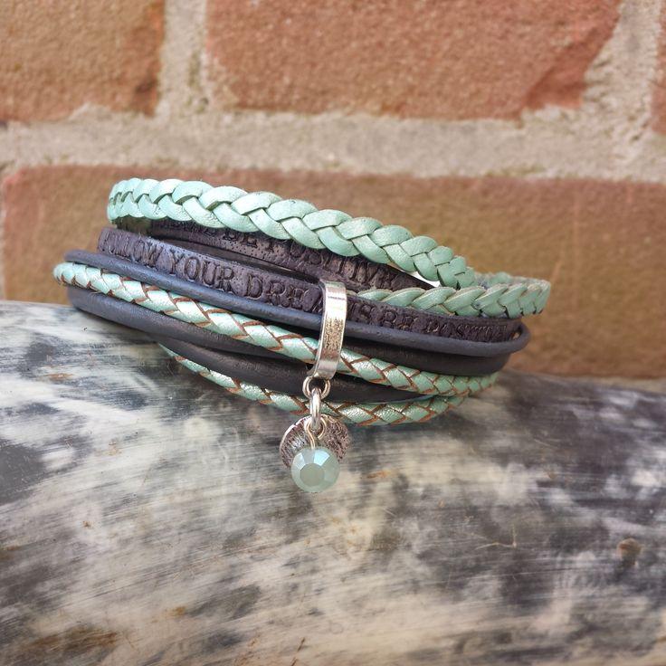 leren wikkel armband turquoise grijs