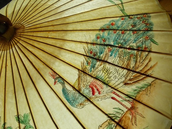 Rice Paper Parasol With Peacock Vintage Bamboo And Paper