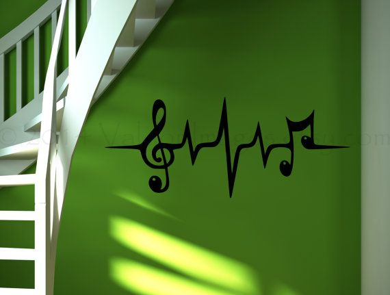 Music note heartbeat pulse wall decal wall sticker by ValdonImages