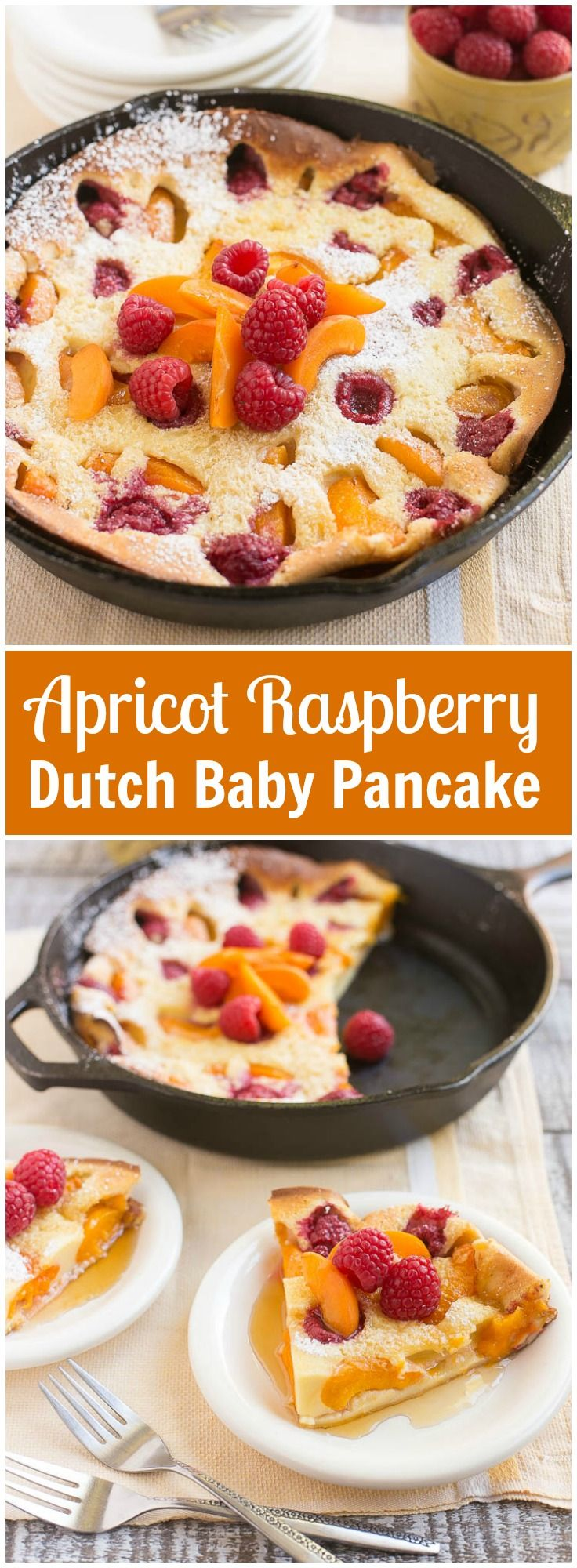 This giant apricot raspberry dutch baby pancake bakes in the oven and is a showstopping addition to your breakfast or brunch - no flipping required!