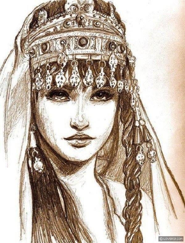 Beautiful sketch of an Amazigh girl