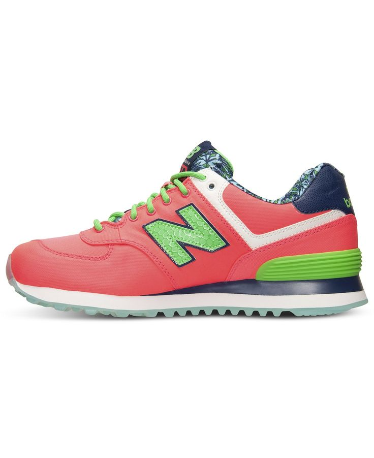 New Balance pink and green sneakers