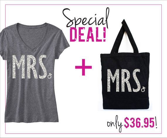I WANT THIS!!! Someone tell bill!   MRS Bride Shirt Glitter Print SPECIAL DEAL, Bride Vneck, Wedding shirt, Bridal shirt, Bride Vneck, wedding