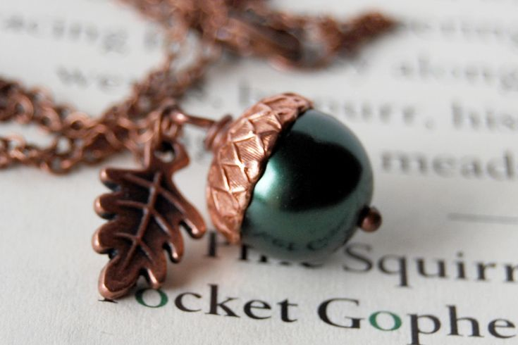 Forest and Copper Pearl Acorn Necklace by EnchantedLeaves.com