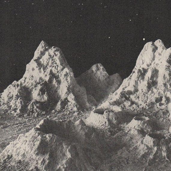 C 1925 Moon Mountains Print Original Vintage Print Moon Print Lunar Landscape Print Celestial Print Astronomy Print Black And White Aesthetic Landscape Prints Astronomy