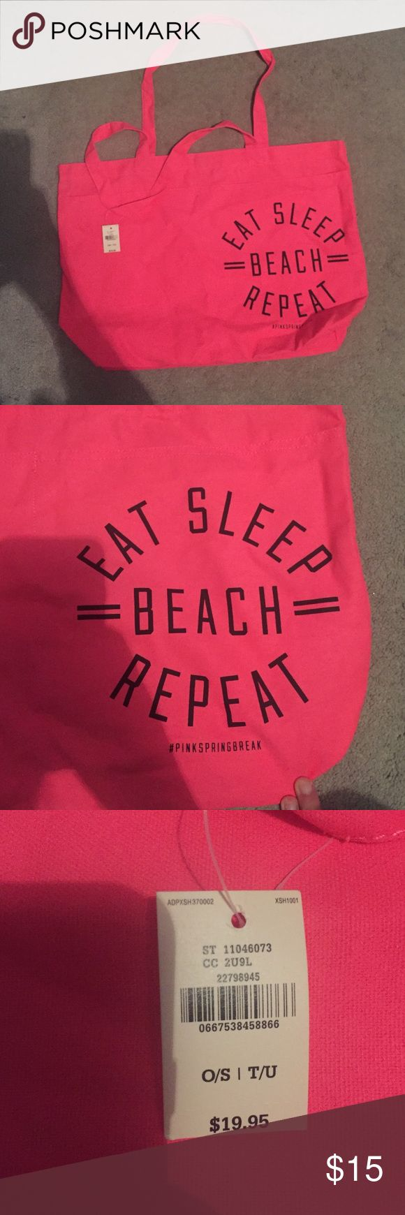 Bright pink tote bag Bright pink Victoria's Secret tote bag, never used with tags PINK Victoria's Secret Bags Totes