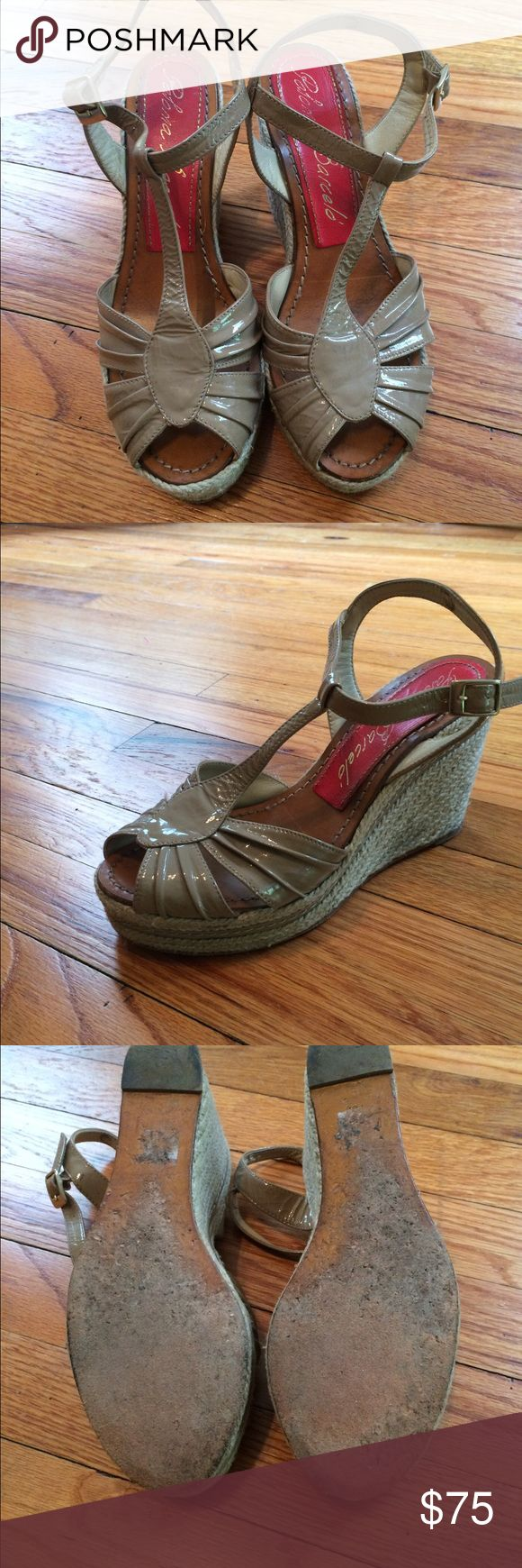 Paloma Barcelo Patent Nude Wedges Soles are worn but otherwise gorgeous shoes and fantastic condition Paloma Barcelo Shoes Wedges