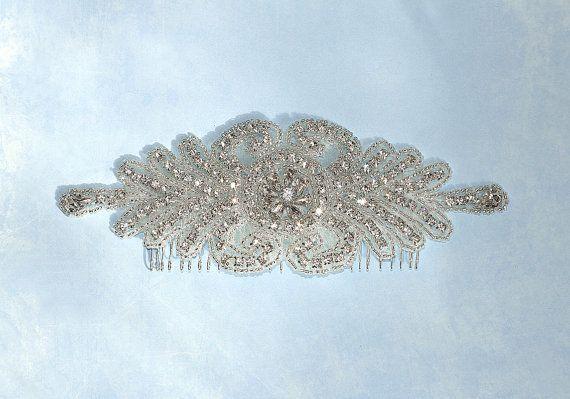 Art Deco Rhinestone Wedding Hairpiece Crystal by BridalEnchantment, $68.00