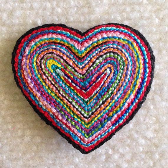 Freeform embroidery heart brooch pin. Brooch 112