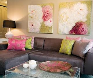 Brown pink and green living room & really like the big floral art work...