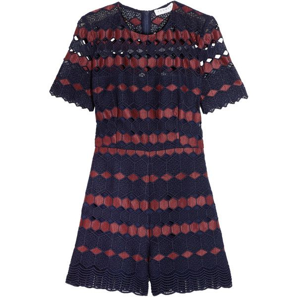 Sandro Crocheted lace playsuit (920 SAR) ❤ liked on Polyvore featuring jumpsuits, rompers, navy, long-sleeve rompers, crochet lace romper, long-sleeve romper, navy romper and zipper romper