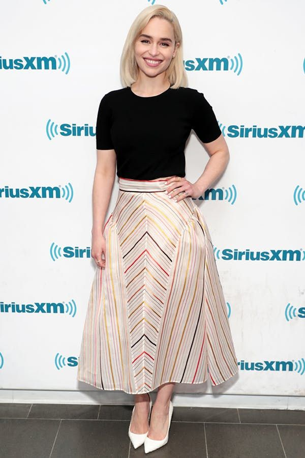 9678656bc1 FITTED TOP + A-LINE MIDI SKIRT. 5 Off-Duty Emilia Clarke Outfits That Are  Totally Chic (but *So* Not Daenerys) #purewow #fashion #celebrity #style ...