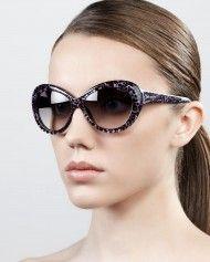 Jimmy Choo Valentina Pantherprint Oversized Oval Sunglasses Gray in Black (PATHER GREY)