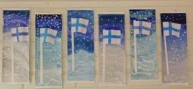 Ekaluokkalaisten lipputöiden myötä toivottelen teille kaikille:    Hyvää itsenäisyyspäivää!                Lipputöiden idea on otettu Pinter...